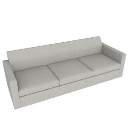 Bevel Sofa/ Both Arms, Noble Fabric Heathered Grey with Ebony Leg