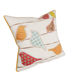 Patchwork Birds Cushion, Natural