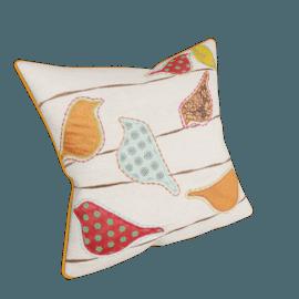 Patchwork Birds Cushion, Natural