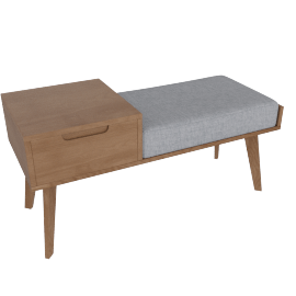 Jenson storage bench, dark stained oak