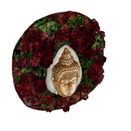 Buddha Mask in Mixed Rose Wreath - 32x8 cms