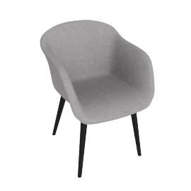 Fiber Chair, Fabric -Light Grey, Leg -Black