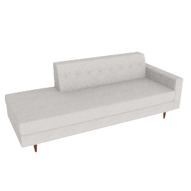 Bantam Studio Sofa, Right in Basket Fabric - Ivory.Walnut