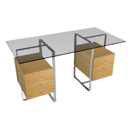 Staten Small Glass Desk with Steel Trestles and 2 Drawer Packs