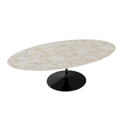 Saarinen Oval Dining Table 96'', Calacatta - Blk.Calacatta