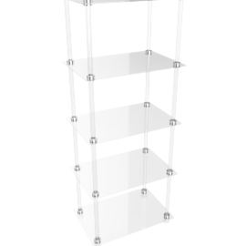 Ice 5 Tier Bookcase, Clear