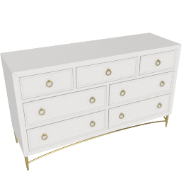 Adele 7 Drwr Dresser-Light Cream-Gold