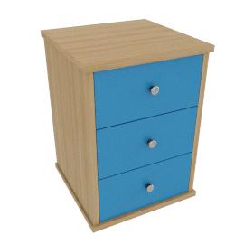 Corey 3 Drawer Bedside Cabinet, Blue
