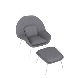 Womb Chair & Ottoman, Fabric -Melange: Flannel, Frame -Chrome