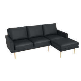 Raleigh Sectional with Right Chaise, Oak, Vienna Leather Ebony