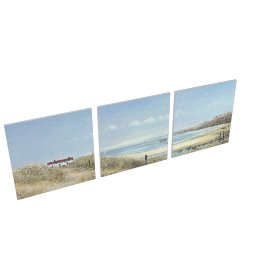 Anthony Waller - Coastal Pathway Trip Print of Canvas, Set of 3, 35 x 35cm
