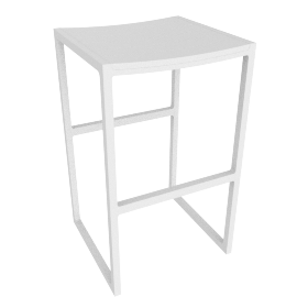 Eos Backless Barstool, White