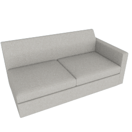 Bevel Settee/ Left Arm, Noble Fabric Heathered Grey with Ebony Leg