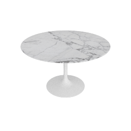 Saarinen Round Dining Table 47'', Polished Coated Marble - Arabescato, White Base