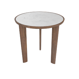 Port Side Table, Carrara Top Walnut Base