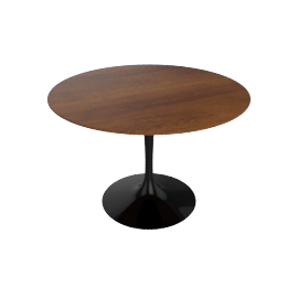 Saarinen Round Dining Table 42'', Veneer - Black.LtWalnut