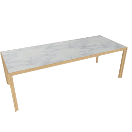 Doubleframe Table 92 x 36, Carrara/Oak