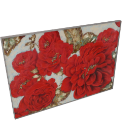 Red Floral Handmade Oil Painting - 70x3.5x100 cms