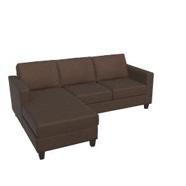 Portia LHF Chaise End Sofa, Charcoal / Dark Leg