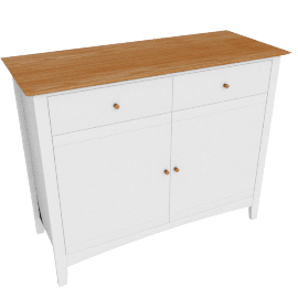 Alba Narrow Sideboard, Soft Grey/Oak