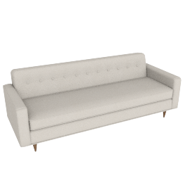 "Bantam 86"" Sofa in Basket Fabric - Ivory.Walnut"
