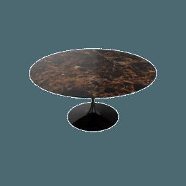Saarinen Round Dining Table 60'', Natural Marble - Blk.Emperador
