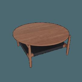 T.300 Round Coffee Table, Walnut/Black
