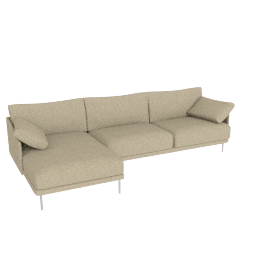 Camber Full Sectional Stainless Legs Left, Lama Tweed Oatmeal