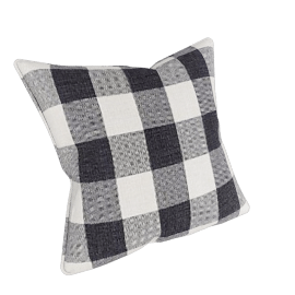 Manor Check Cushion, Black