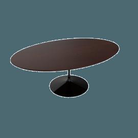 Saarinen Low Oval Coffee Table - Veneer - Black.DrkWalnt