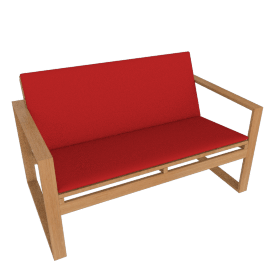 Block Island Two-Seater Sofa with Cushion, With Logo Red