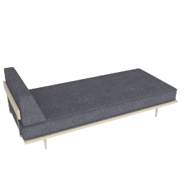 Nelson Daybed with Side Bolster, Fabric: Pebble Weave Color: Ash.Pumice Leg: Taper