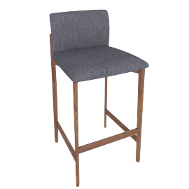 Contour Barstool, Pebbe Weave Pumice with Walnut Leg