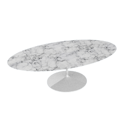 Saarinen Oval Dining Table 96'', Coated Marble 1 - Wht.Arabescato