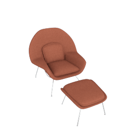 Womb Chair and Ottoman, Melange Henna Fabric, Chrome Leg