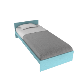 Box Bed, Blue, Single