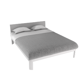 Min Bed w/ Plexi Headboard-Queen - White.Clear