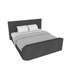 Brighton Multimedia King Bed - 200x210 cms, Dark Grey