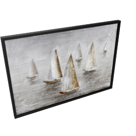 Water Boats Handmade Painting - 100x3.8x70 cms