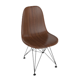 Eames Molded Wood Side Chair, Black Base