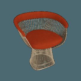 Platner Armchair, Gold frame and Knoll Velvet - Tomato