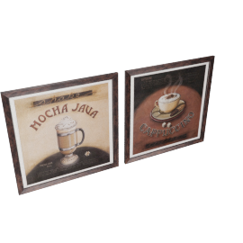 Coffee Time 2-Piece Picture Frame Set - 24x24x0.6 inches