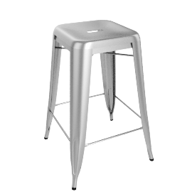 "Tolix ""H"" Stool, Raw Steel"