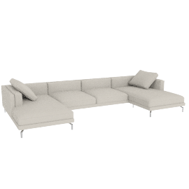 Como Double-Chaise Sectional in Leather, Gesso