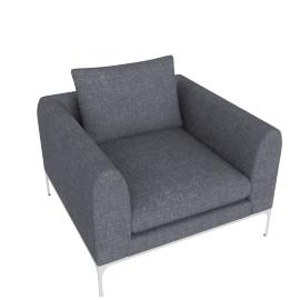 Jonas Armchair, Fabric: Pebble Weave Pumice Leg: Aluminum