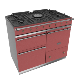 Lacanche Macon LG1053GECTRBA Dual Fuel Cooker, Red / Brass Trim