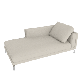 Como Chaise in Leather, Right, Gesso